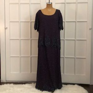 EUC purple beaded mother of the bride gown 2X